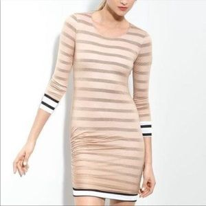 A.L.C. Baxter Striped Ruched Jersey Dress Small
